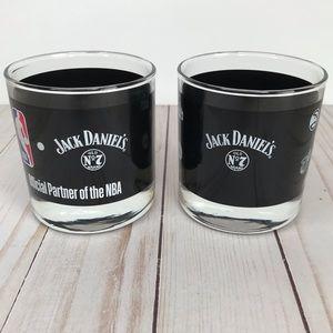 JACK DANIEL'S Rare NBA Glass 4oz Cups Set *NEW*